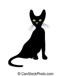 illustration., gato, vetorial, fundo, branca, ícone