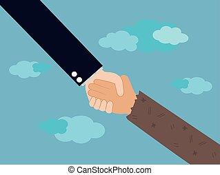 illustration., geben, hand, portion, feundliches , mann