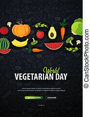 illustration., gekritzel, vegetarier, day., hintergrund., vektor, welt, hand-draw