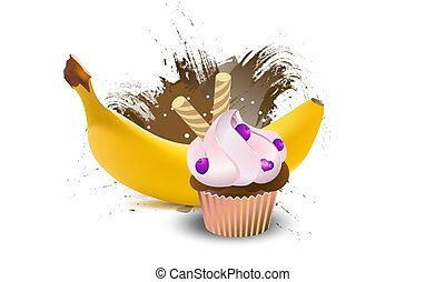 illustration., gele, realistisch, vector, vruchten, banaan, cupcake.