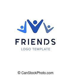 illustration., gens, concept, ensemble, vecteur, logo, fête, amis, template., heureux