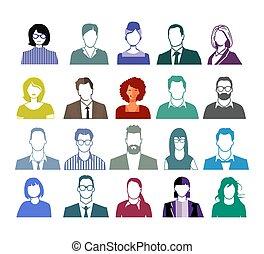 illustration, gens, portrait, ensemble, faces