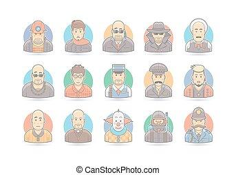 illustration., gens, set., caractère, isolé, vecteur, white., dessin animé, icône
