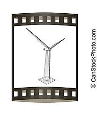 illustration., gerador, turbinas, película, vento, icon., strip., 3d