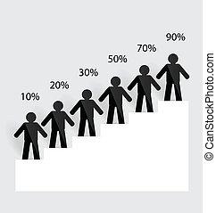 illustration., geschaeftswelt, graph., vektor, wachsen, mann