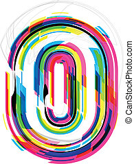 illustration., getal, illustratie, vector, lettertype, 0.
