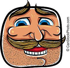 illustration., gezicht, vector, mustaches, spotprent, vrolijke