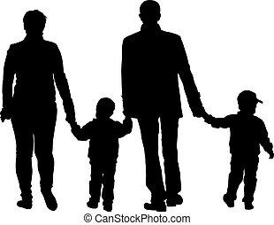 illustration., gezin, achtergrond., silhouettes, vector, black , witte