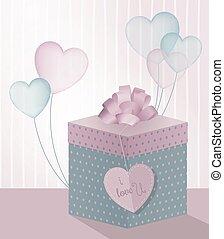 illustration gift box balloons