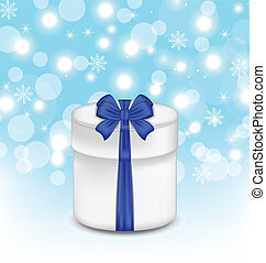 gift box with blue bow on glowing background