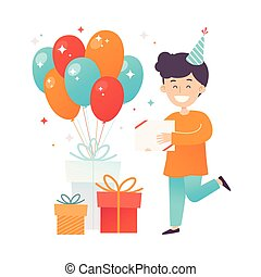 illustration., gift., laranja, menino, camisa, vetorial