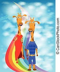 illustration giraffe couple walking on a rainbow