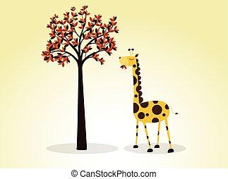 Illustration Giraffe Eating Leaves