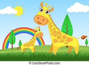 illustration giraffe  in meadow