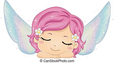 illustration, girl, dormir, gosse, fée