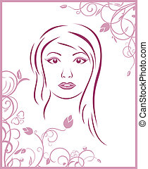 girl face with floral background