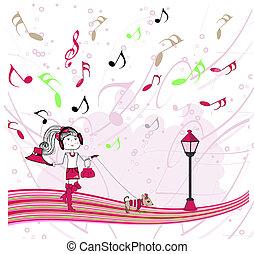 illustration girl listening to music