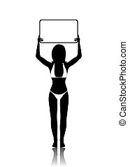 girl silhouette with banner isolated
