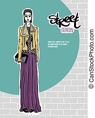 Illustration girl, street fashion