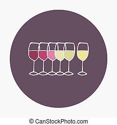 illustration., glasses., hand-drawn, vector, icono, vino