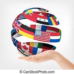 illustration., globe, main., tenu, vecteur, drapeaux, mondiale