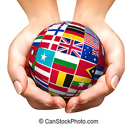 illustration., globe, vector, wereldvlaggen, hand.