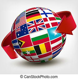 illustration., globo, arrow., vetorial, bandeiras, mundo