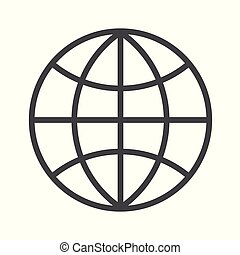 illustration., globo, editable, experiência., vetorial, stroke., branca, ícone, esboço