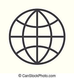 illustration., globo, editable, fondo., vettore, stroke., bianco, icona, contorno