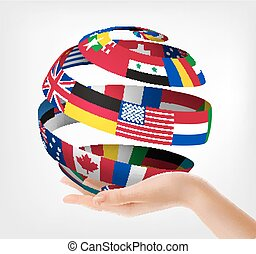 illustration., globo, mão., segurado, vetorial, bandeiras, mundo