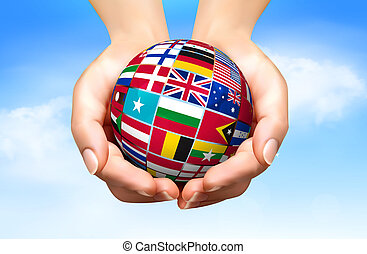 illustration., globo, vector, banderas, mundo, mano.