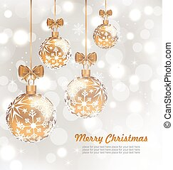 Glowing Celebration Card with set Christmas balls