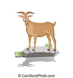 illustration. goat on stone