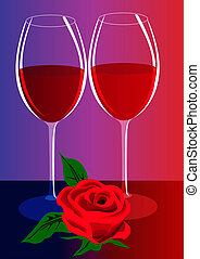 goblets with wine and flower - illustration goblets with ...
