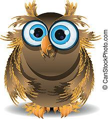 illustration goggle-eyed wise owl with blue eyes