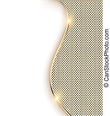 Illustration gold background with a wave and shine