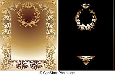 illustration., gold, banner., vektor, schwarz, aufwendig