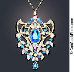 Illustration gold brooch with  precious stones. Filigree ...
