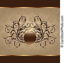 Illustration gold floral packing, design element - vector