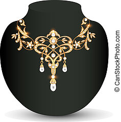 gold necklace wedding women with gems - Illustration gold...