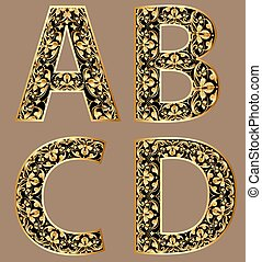 Illustration gold vintage decorative font characters abcd