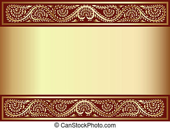 gold(en) background with band of the vegetable pattern -...