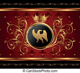 golden background with heraldic eagle