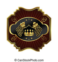 golden frame label for packing wine - Illustration golden...