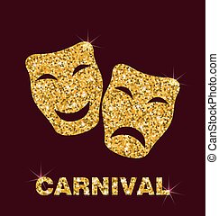 Illustration Golden Glittering Carnival Mask - Illustration...