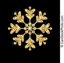 Golden Merry Christmas Sparkle Snowflakes