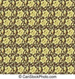 illustration golden pattern on brown background