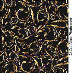 Illustration golden seamless floral background, pattern for...