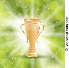 Golden Trophy on Green Light Background