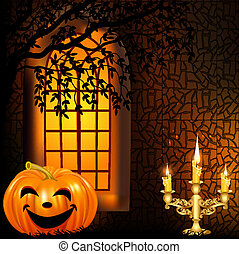 illustration goryashie candle in a candlestick and a pumpkin on a background window on halloween
